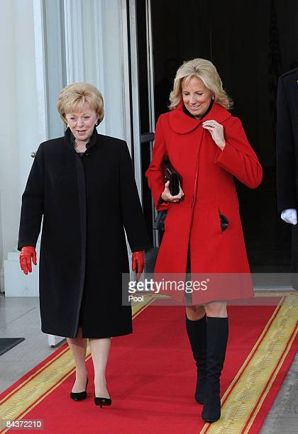 Lynn Cheney and Jill Biden depart the White House through the North Portico before the inauguration as the 44th president of the United States of...