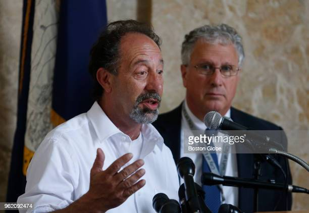 Lynn City Councilor Peter Capano speaks beside Lynn mayor Thomas McGee during a press conference to discuss Garelick Farms' announcement that it will...