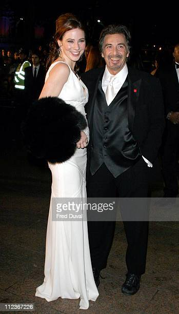 Lynn Collins and Al Pacino during 'Merchant of Venice' Royal Premiere London at Odeon Leicester Square in London Great Britain