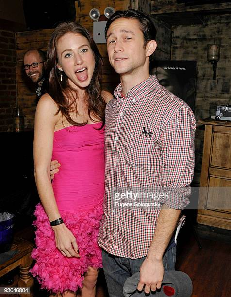 Lynn Collins and Joseph Gordon Levitt attend the 'Uncertainty' premiere after party at Su Casa on November 13 2009 in New York City