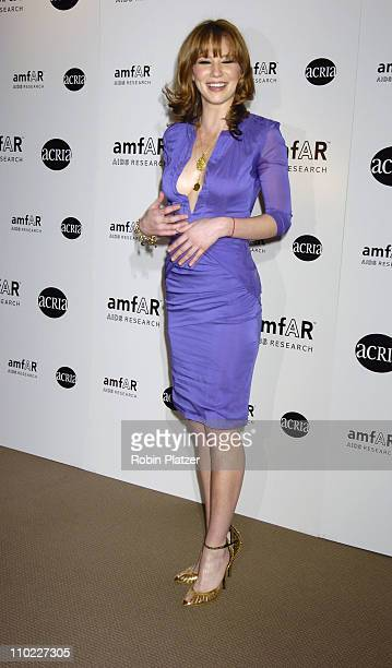Lynn Collins during amfAR and ACRIA Honor Herb Ritts with a Sale of Contemporary Artwork Arrivals at Sothebys in New York New York United States
