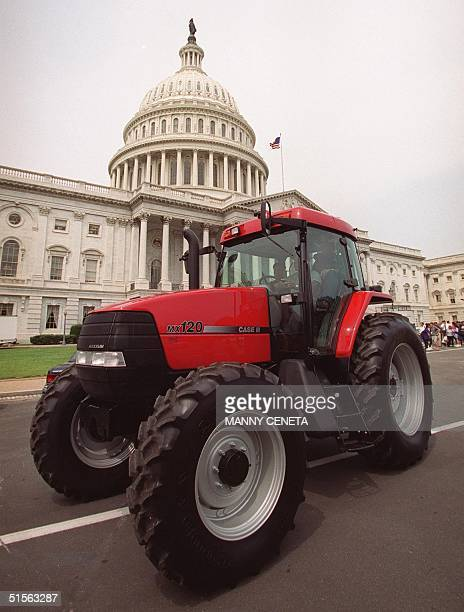 Lynn Cornwell a third generation rancher from Montana drives his tractor away from the US Capitol after US Sen Strom Thurmond RSC signed the death...