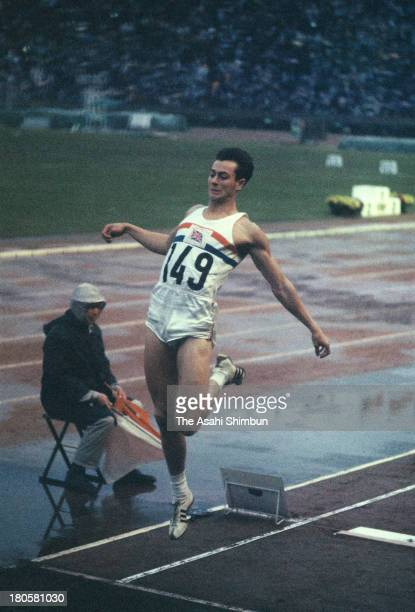 Lynn Davies of Great Britain competes in the Men's Long Jump during the Tokyo Olympics at the National Stadium on October 18 1964 in Tokyo Japan