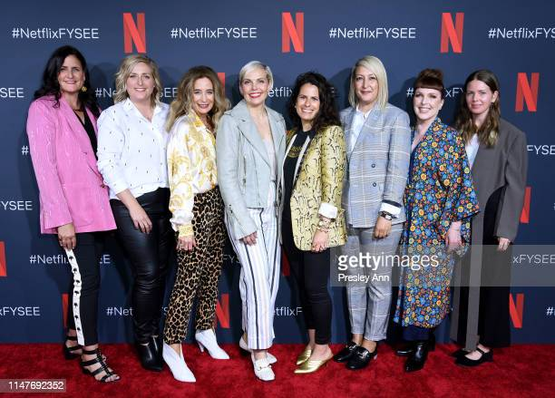 Lynn Falconer Jessica Wegner Allyson Fanger Jennifer Rogien Beth Morgan Kemal Harris Cynthia Summers and Megan Gray attend the Netflix Costume...