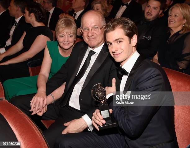 Lynn Garfield Richard Garfield and Andrew Garfield pose in the audience during the 72nd Annual Tony Awards at Radio City Music Hall on June 10 2018...