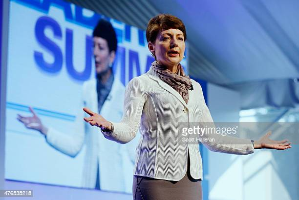 Lynn Good President and CEO of Duke Energy speaks to guests on stage at the KPMG Women's Leadership Summit prior to the start of the KPMG Women's PGA...
