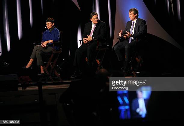 Lynn Good president and chief executive officer of Duke Energy Corp from left and Jeffrey Lacker president of the Federal Reserve Bank of Richmond...