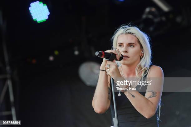 Lynn Gunn of PVRIS performs on Day 2 of Forecastle Music Festival on July 14, 2018 in Louisville, Kentucky.