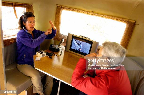 Lynn Hill left explains technique to Penny Rogers of Santa Fe NM while reviewing video in a small trailer at Golden Gate State Park on Wednesday The...