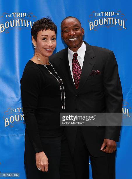 Lynn Kendall Thomas and Isiah Thomas attend the Broadway opening night of The Trip To Bountiful at Stephen Sondheim Theatre on April 23 2013 in New...