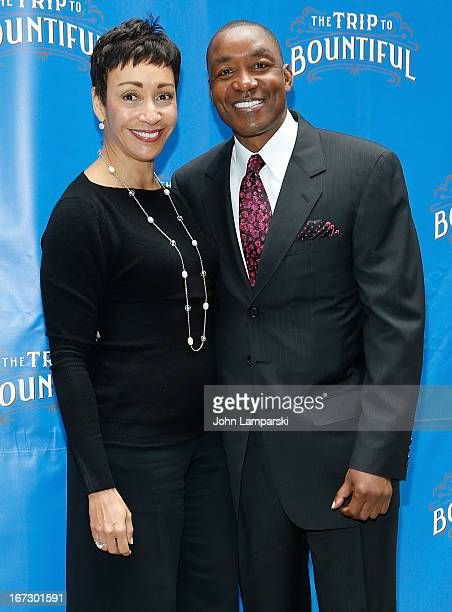 Lynn Kendall Thomas and Isiah Thomas attend the The Trip To Bountiful Broadway Opening Night >> at Stephen Sondheim Theatre on April 23 2013 in New...