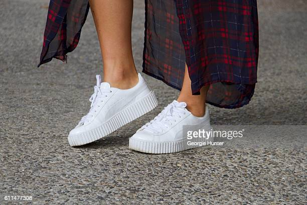 Lynn Kim Do wearing red and blue vintage sheer plaid tartan dress and white leather Fenty Puma creeper sneakers by Rihanna on September 29 2016 in...