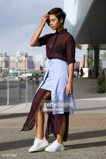 Lynn Kim Do wearing red and blue vintage sheer plaid tartan dress C/MEO Collective pale blue wrap shirt skirt with poppers white leather Fenty Puma...