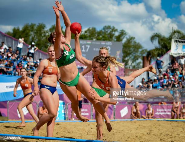 Lynn Klesserof Netherlands takes a shot during a Women's Bronze Medal Match during day 7 of Buenos Aires 2018 Youth Olympic Games at Green Park on...