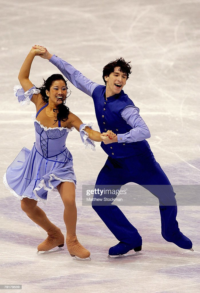 Lynn Kriengkairut and Logan Giulietti-Schmitt compete in the compulsory dance during the US Figure Skating Championships January 23, 2008 at the Xcel Energy Center in St Paul, Minnesota.
