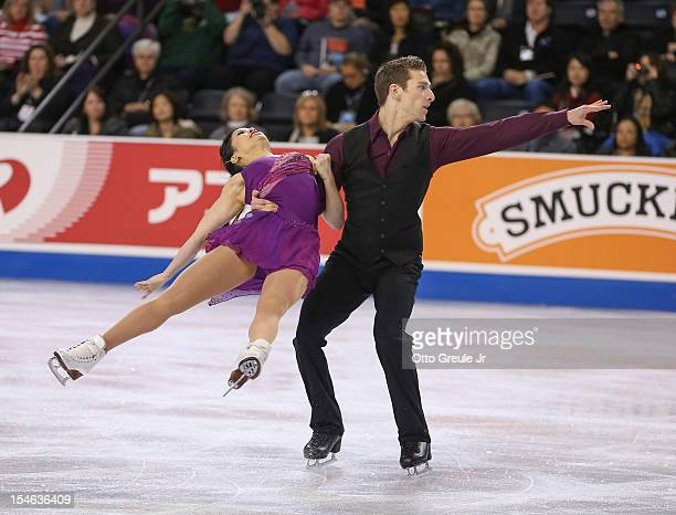 Lynn Kriengkrairut and Logan GiuliettiSchmitt skate in the free dance during the Skate America competition at the ShoWare Center on October 21 2012...