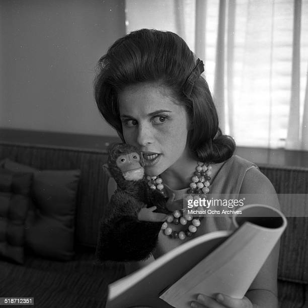 Lynn Loring poses for portrait at home in Los Angeles CA