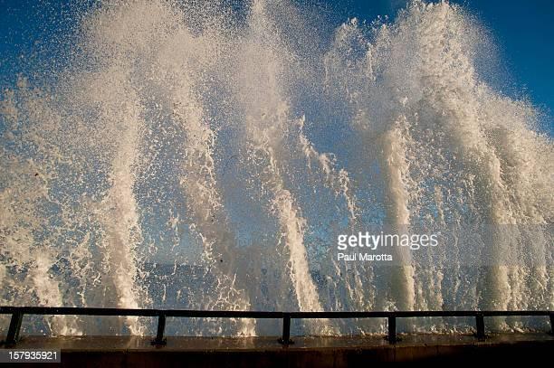 Lynn MA Seawall Waves Crashing Storm Surge