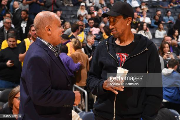 Lynn Merritt talks with NBA Legend Scottie Pippen before the Cleveland Cavaliers game against the Los Angeles Lakers on January 13 2019 at STAPLES...
