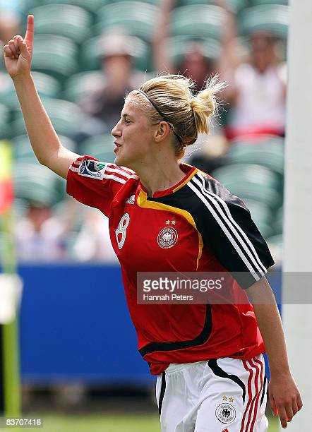 Lynn Mester of Germany celebrates scoring during the FIFA U17 Women's World Cup Third and Fourth Playoff match between England and Germany at North...