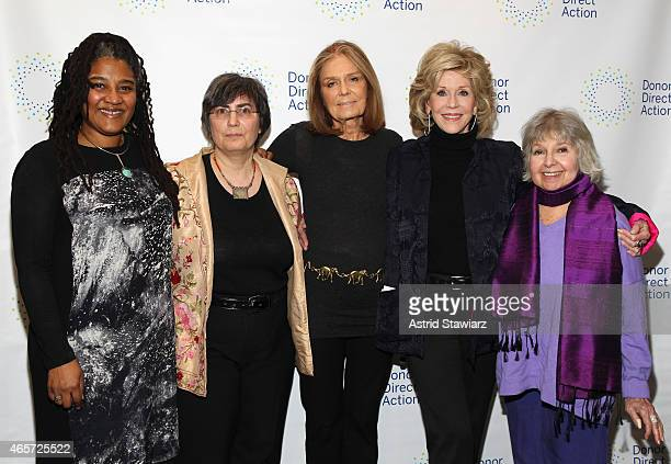 Lynn Nottage Jessica Neuwirth Gloria Steinem Jane Fonda and Robin Morgan attend the launch party of Donor Direct Action at Ford Foundation on March 9...