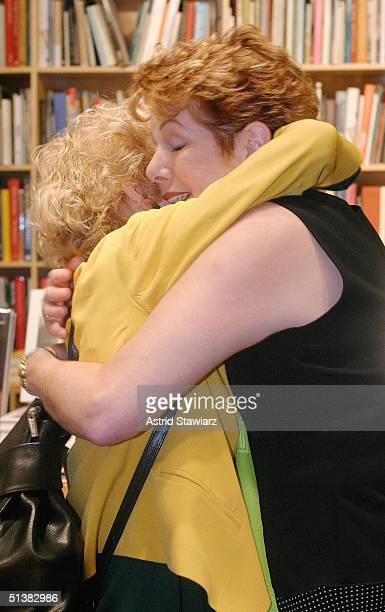 """Lynn Redgrave hugs a fan at Ursus Book store during a booksigning of """"Journals"""" October 1, 2004 in New York City. Lynn Redgrave worked with daughter,..."""