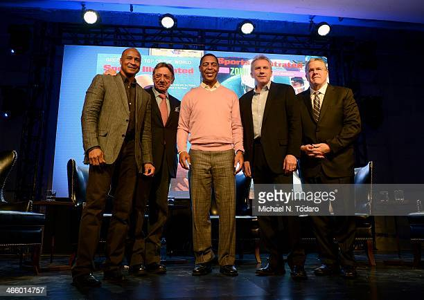 Lynn Swann Joe Namath Marcus Allen Joe Montana and Peter King attend the Sports Illustrated MVP Night With Lynn Swann And Jaguar At The Diageo Liquid...