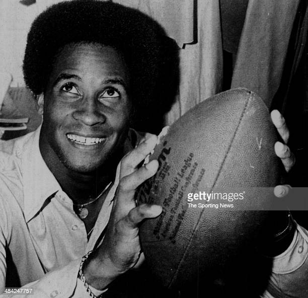 Lynn Swann of the Pittsburgh Steelers holds the ball circa 1970s