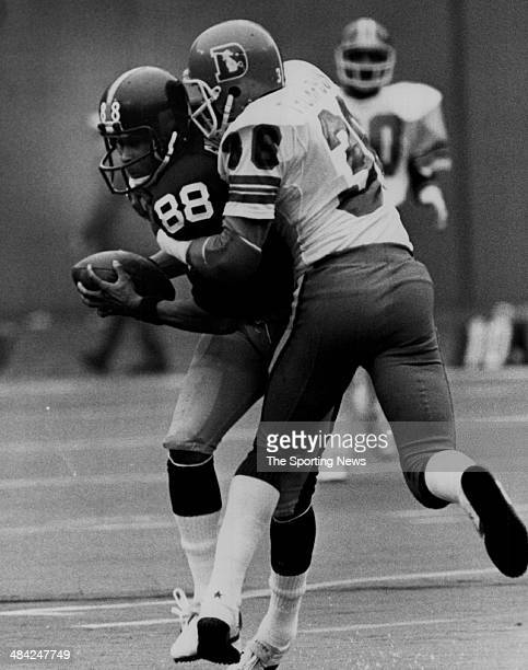 Lynn Swann of the Pittsburgh Steelers is tackled circa 1970s