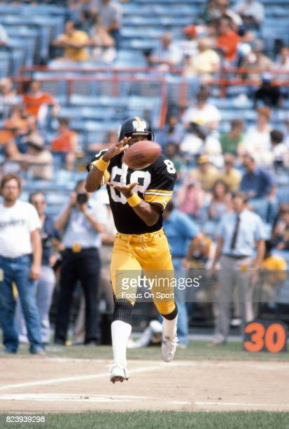 Lynn Swann of the Pittsburgh Steelers warms up during pregame warm ups prior to the start of an NFL football game against the Baltimore Colts circa...