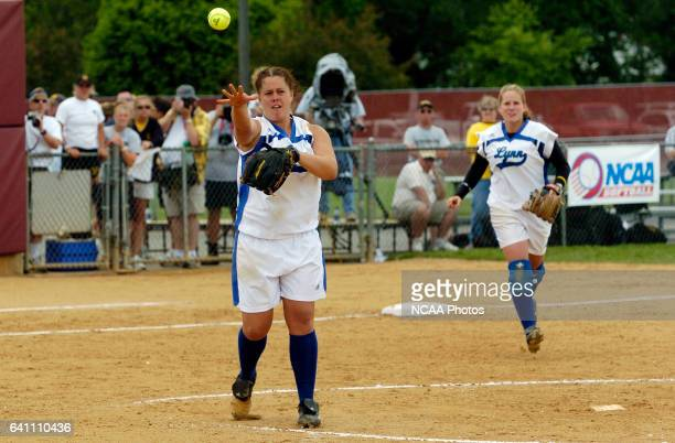 Lynn University pitcher Aimee Murch throws the ball to first base for the final out against Kennesaw State University during the Division II Women's...