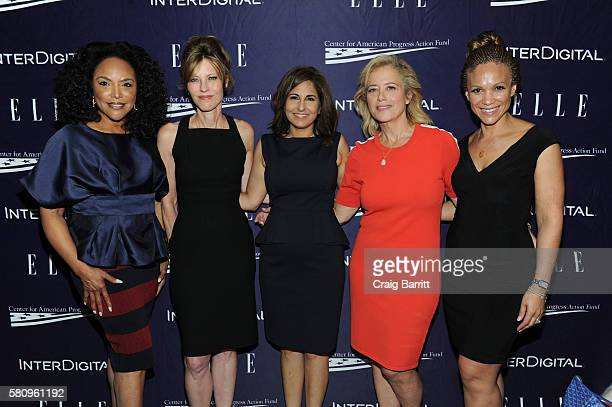 Lynn Whitfield Robbie Myers Neera Tanden Hilary Rosen and Melissa Harris Perry attend a reception hosted by ELLE EditorinChief Robbie Myers and...