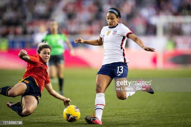Lynn Williams of the United States takes the shot on goal during the 2nd half of the 2020 SheBelieves Cup match between United States and Spain...