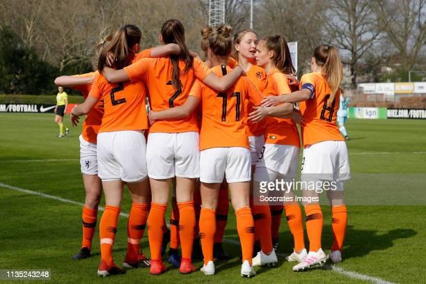 Lynn Wilms of Holland Women U19 Romee Leuchter of Holland Women U19 Kirsten van de Westeringh of Holland Women U19 Joelle Smits of Holland Women U19...