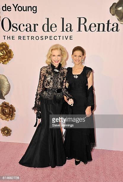 Lynn Wyatt and Annette de la Renta attend the 'Oscar de la Renta The Retrospective' Benefit Gala at the de Young on March 9 2016 in San Francisco...