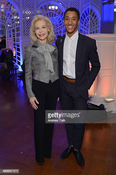 Lynn Wyatt poses with Princess Grace award winner Harper Watters at the 2015 Princess Grace Awards at 583 Park Avenue on September 25 2015 in New...