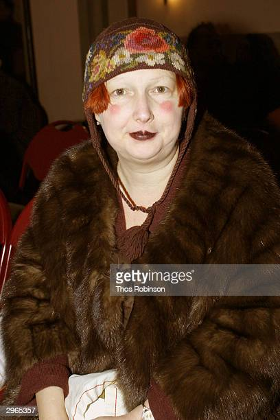Lynn Yaeger of the Village Voice sits front row at the Libertine fashion show at St. Barts Park Ave during the Olympus Fall Fashion Week February 10,...