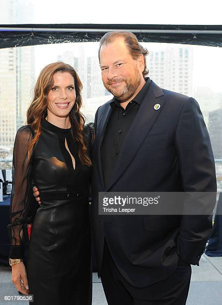 Lynne Benioff and Honoree CEO Sales Force Marc Benioff attend the GLAAD Gala San Francisco 2016 at Metreon on September 8 2016 in San Francisco...