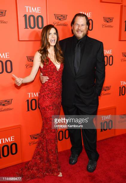 Lynne Benioff and Marc Benioff attend the TIME 100 Gala Red Carpet at Jazz at Lincoln Center on April 23 2019 in New York City