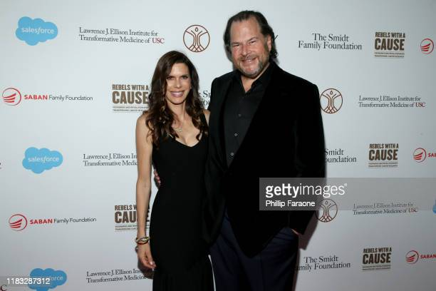 Lynne Benioff and Marc Benoiff attend the Rebels With A Cause Gala 2019 at Lawrence J Ellison Institute for Transformative Medicine of USC on October...