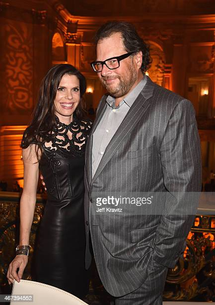 Lynne Benioff and salesforcecom Chairman and CEO Marc Benioff attend the after party for HBO's Game of Thrones Season 5 at San Francisco City Hall on...