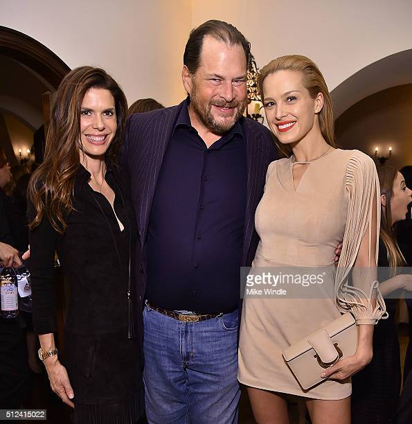 Lynne Benioff Marc Benioff and Petra Nemcova attend The Dinner For Equality cohosted by Patricia Arquette and Marc Benioff on February 25 2016 in...