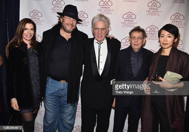 Lynne Benioff Marc Benioff Robert Thurman and Philip Glass attend the The Art Of Freedom Award at Tibet House US on December 10 2018 in New York...