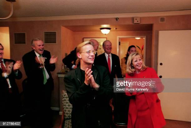 Lynne Cheney campaign adviser Andrew Card former Treasury Secretary Nicholas Brady former Senator Alan Simpson Mary Cheney and Liz Cheney cheer as...