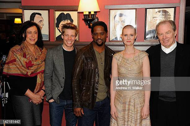Lynne Meadow Hunter Parrish Blair Underwood Cynthia Nixon and Michael McKean attend the 2012 Drama Desk panel discussion and luncheon at Sardi's on...