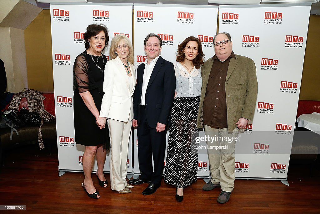 Lynne Meadow, Judith Light, Jeremy Shamos, Jessica Hecht and Jeremy Greenberg attend 'The Assembled Parties' Broadway Opening Night after party at the Copacabana on April 17, 2013 in New York City.