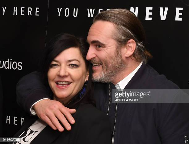 Lynne Ramsay and Joaquin Phoenix attend the New York special screening of Amazon Studios' 'You Were Never Really Here' at Metrograph on April 3 2018...