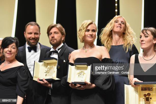 Lynne Ramsey joint winner of the award for Best Screenplay for the movie 'You Were Never Really Here' Yorgos Lanthimos joint winner of the award for...