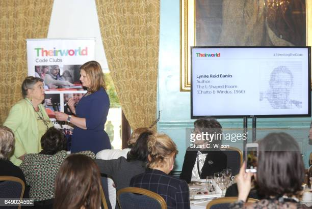 Lynne Reid Banks and Sarah Brown speak during Theirworld #RewritingTheCode International Women's Day Breakfast 2017 at The Institute of Directors on...