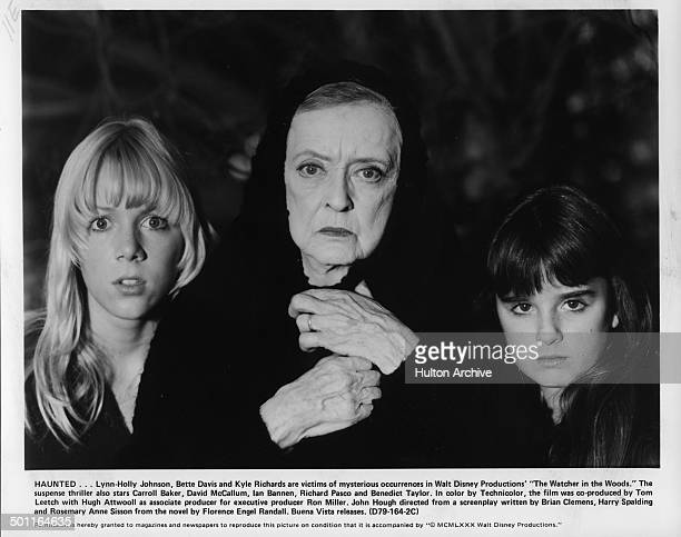 LynnHolly Johnson Bette Davis and Kyle Richards look scared in a scene for the Walt Disney movie The Watcher in the Woods circa 1979